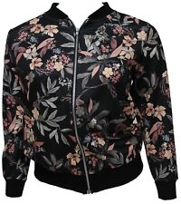 Womens Plus Size Curve Khaki Black Floral Printed Lightweight Bomber Jacket Top