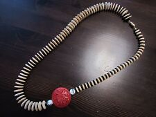 Vintage Chinese Cinnabar Carved Beaded Onyx Wood Ceramic Porcelain Necklace 26""