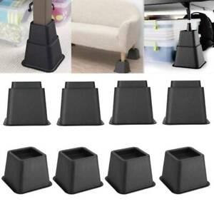 8Pcs/set Furniture Raisers Adjustable Bed Chair Riser Wide Feet Lift Stands UK