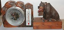bel ours en bois forêt noire avec thermomètre  et baromètre