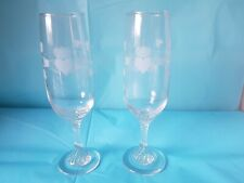 Set of 2 Irish Cut Glass Wine Flute Glasses Etched Heart and Crown Lovely Stems