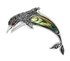 Sterling Silver Marcasite & Abalone Shell Dolphin Pin w/Crystal Eye - MPN174