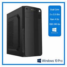 PC de Bureau Dual Core - 2 x 3.50 Ghz  - Ram 4 Go - SSD 240 Go - Windows 10 Pro