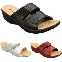 Womens New Slip On Touch Strap Open Toe Ladies Wedge Heel Mules Sandals Sizes UK