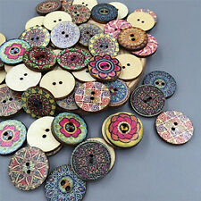 100X Mixed Wooden Buttons Vintage Flowers Wood Buttons 20mm Diameter 2 holes GX