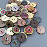 100X Mixed Wooden Buttons Vintage Flowers Wood Buttons 20mm Diameter 2 holes EO