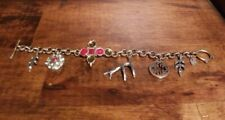 Fossil Link Charm Bracelet antique goldtone with 6 charms