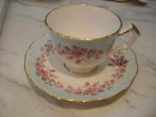 Vntg Aynsley light blue pink flowers Bone China England Tea Cup/Saucer Gold trim