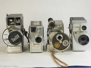 Lot 8mm Movie Cameras Canon Revere DeJUR Keystone Bausch & Lomb Elgeet AS IS