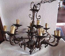 Lampadario da sala a dodici luci vintage in ottone brunito