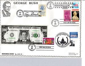 PRESIDENT GEORGE BUSH, INAUGURATION & LIBRARY, WHITE HOUSE STAMP HIDEAKI NAKANO