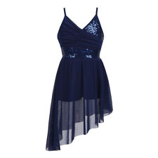 Kid Girl Lyrical Dance Dress Leotard Ballroom Latin Ballet Split Skirt Dancewear