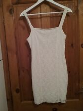 Hollister womens Ivory White Lace Stretch Bodycon Dress Size Medium 10/12 Excell