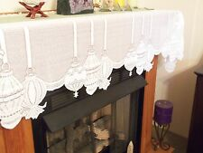 Ivory Lace Christmas Ornament Design Mantel Scarf