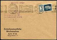 WWII II ERA GERMANY CHANCELLOR FRANKED 4  pfg STAMP  COVER BERLIN TO LEIPZIG