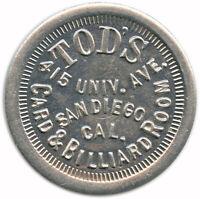 Tod's Card & Billiard Room San Diego, California CA 25¢ Trade Token