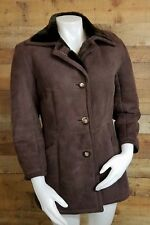 Abercrombie And Fitch Brown Suede Leather & Faux Fur Lined Winter Coat Size 8