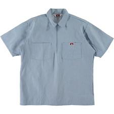 Ben Davis Short Sleeve Half Zip Work Shirt Stripe Blue
