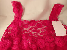 Cabernet Pretty Red Lacey Camisole 90% Nylon 10% Spandex Small XLarge