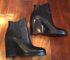 Michael Kors Black Leather Wedge Ankle Boots Thea Size 9.5 New