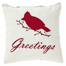 """Set of 2 Seasons Greetings Pillow Red Cardinal on White Flax Shell 10"""" Square"""
