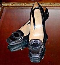 COLE HAAN Women's Black Buckle Leather Dress Kitten Heels Size 9B 9 B