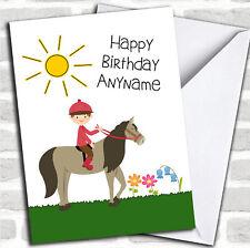 Pony Horse Riding Boy Personalised Birthday Card