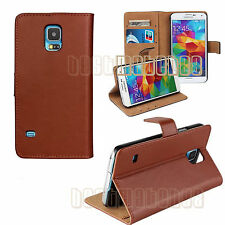 for Samsung galaxy S5  brown genuine leather flip case wallet pocket stand