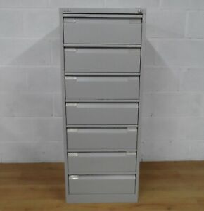 Bisley 7 Drawer Card Index/Media Cabinet Light Grey With Keys £320+Vat