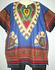 Womens Unisex Top Shirt Dashiki Blue Yellow Cotton Free Size Fits Size 2X 3X
