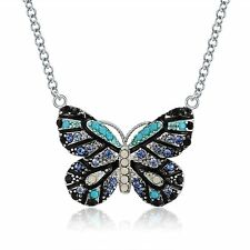 Multi Blue Colored Butterfly Chain Pendant Necklace Ginger Lyne Collection