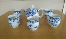 7 Piece Chinese Blue And White Double Wall Tea Set Vintage