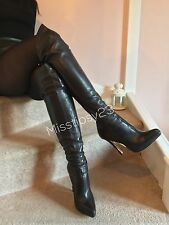Anna Dello Russo H&M Soft Leather High Heel Over Knee Boots UK 7 EU 40 US 9.5