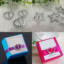 30PCS  Round Heart Rhinestones Ribbon Slider Plastic Buckle Wedding Invitation