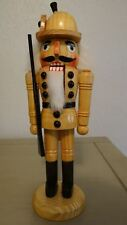 German Soldier Nutcracker With Rifle Wooden Natural Finished Christmas Decor