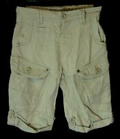 Boys Next Stone Beige Linen Blend Cargo Cropped Long Board Shorts Age 4 Years