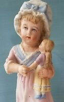 Antique German Bisque Figurine Young Girl Holding Her Doll With Damage