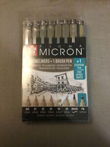 Sakura Pigma Micron Set Black Archival 6 x Fine Liner Pens + 1 Brush Pen