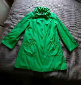 DENNIS BASSO Ladies Green Hooded Coat Raincoat Size S
