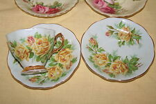 Royal Albert Yellow Tea Rose on Blue Background Cup and 2 Saucers Malvern Shape