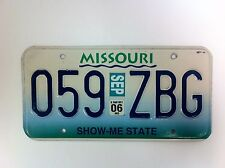 Original Missouri U.S.A. United States License Plate Automobile With Tag - (#F4)