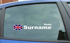 x2 Rally Race Tag Name Surname Car Window Stickers Decals Union Jack Flag ref:8