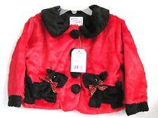 Fuzzy Wear Scottie Baby Girls Jacket Coat size 12-18M Red w/ Dog Pockets