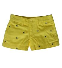 Ralph Lauren Little Girl Embroidered Cotton Chino Shorts Size 4 Yellow
