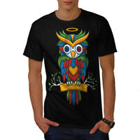 Wellcoda Bright Colorful Owl Mens T-shirt, Nature Graphic Design Printed Tee