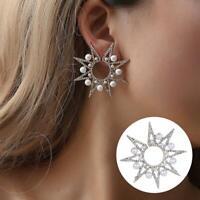 Rhinestone Stud Earrings Women Fashion Jewelry Boucle Sunflower Studs Earrings