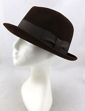 HAHNE & COMPANY Vintage Brown Wool Felt Doeskin Fedora Hat Mens