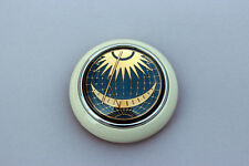 VW TYPE 12 BUG BUS PETRI BLUE SUN & MOON STEERING WHEEL HORN BUTTON IVORY BASE