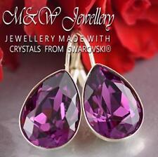925 Silver Earrings Crystals From Swarovski® Pear Fancy Stone Amethyst 14mm