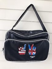 Speedo Messenger Bag USA British Flag Hand Peace Out Logo Blue Sport Casual work